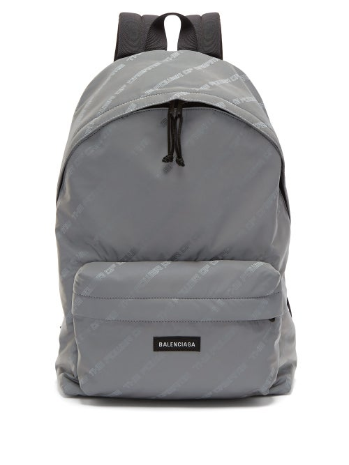 Balenciaga | Balenciaga - Power Of Dreams Print Nylon Backpack - Mens - Grey | Clouty