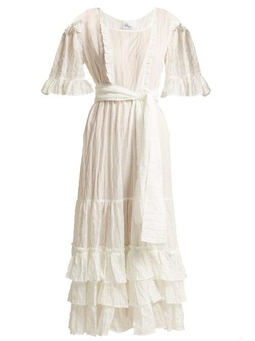 Lisa Marie Fernandez   Lisa Marie Fernandez - January Seersucker Dress - Womens - White Stripe   Clouty