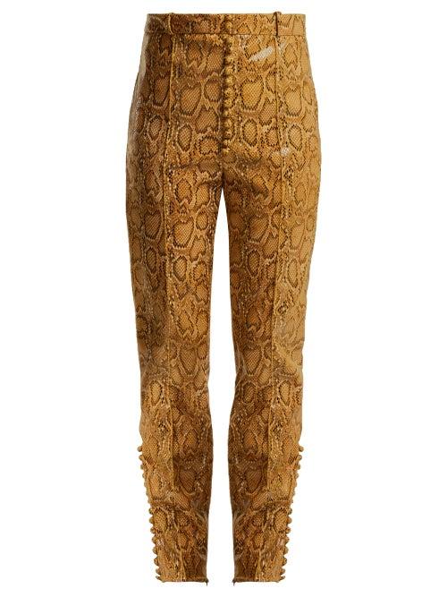 Hillier Bartley | Hillier Bartley - Faux-python Slim-leg Trousers - Womens - Beige Print | Clouty