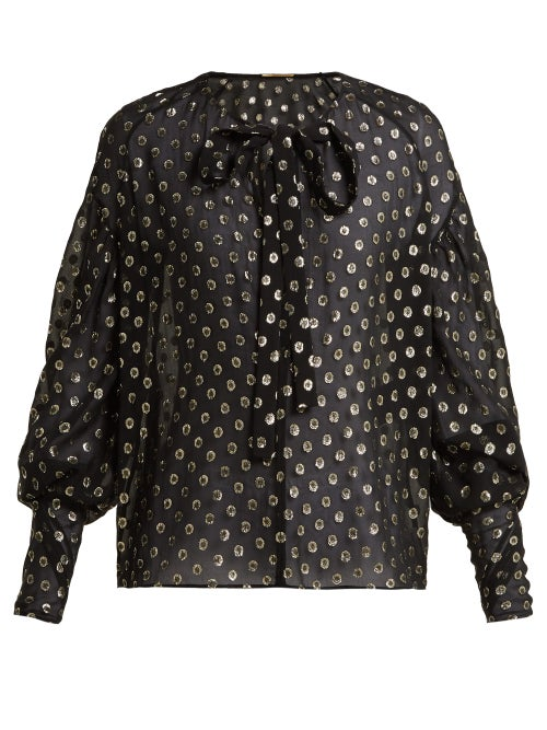 SAINT LAURENT | Saint Laurent - Polka Dot Fil Coupe Silk Blend Blouse - Womens - Black Gold | Clouty