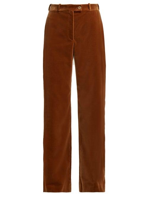 Acne Studios | Acne Studios - Wide Leg Cotton Velvet Trousers - Womens - Beige | Clouty