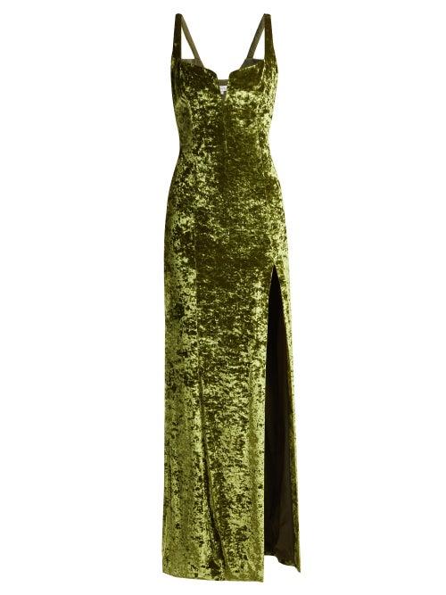 Galvan  London | Galvan - Corset Hammered Velvet Dress - Womens - Green | Clouty