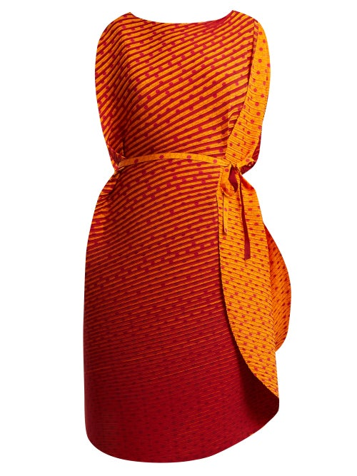 ISSEY MIYAKE | Issey Miyake - Pleated Cocoon Dress - Womens - Orange | Clouty