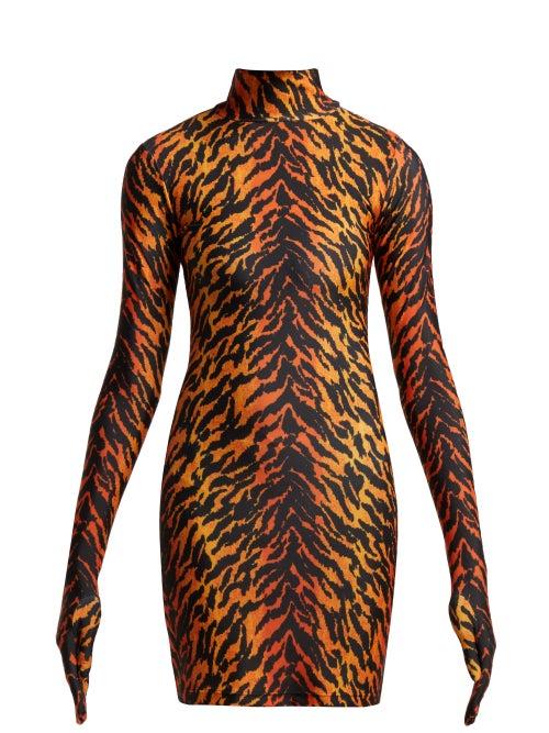 VETEMENTS | Vetements - Tiger Print Glove Sleeved Jersey Dress - Womens - Orange | Clouty