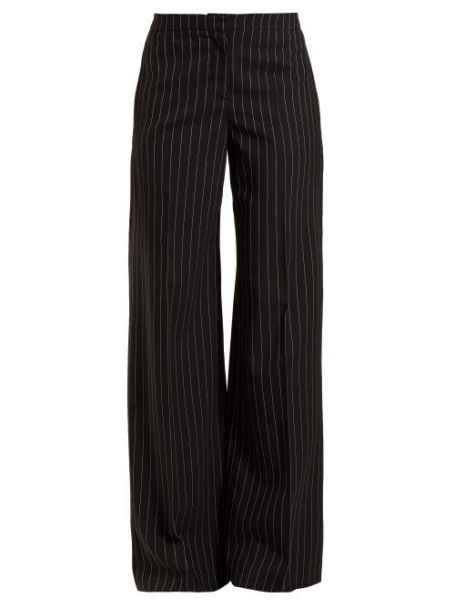 Alexander McQueen | Alexander Mcqueen - Pinstripe Wool Blend Trousers - Womens - Black | Clouty