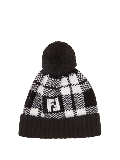 FENDI | Fendi - Ff Tartan Beanie Hat - Mens - Black White | Clouty