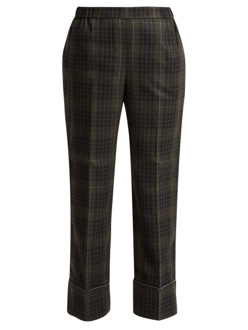 No. 21 | No. 21 - Crystal Embellished Checked Cropped Trousers - Womens - Green Multi | Clouty