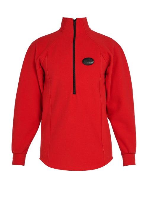 Ribeyron | Ribeyron - Logo Badge Half Zip Fleece - Mens - Red | Clouty