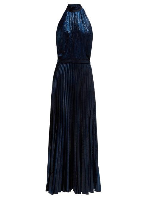 Raquel Diniz | Raquel Diniz - Giovanna Halterneck Pleated Velvet Gown - Womens - Dark Blue | Clouty