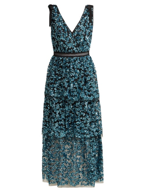 Self-Portrait | Self-portrait - Sequinned Tiered Tulle Midi Dress - Womens - Blue | Clouty