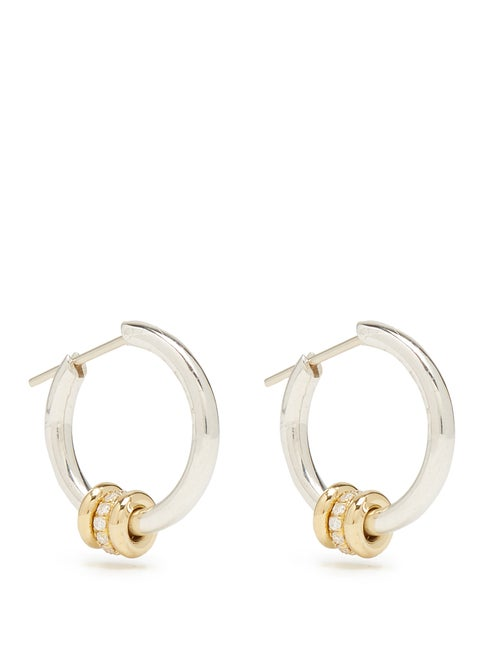 Spinelli Kilcollin | Spinelli Kilcollin - Ara Diamond, Silver & Yellow Gold Earrings - Womens - | Clouty