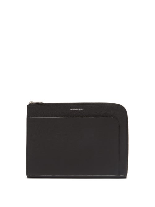 Alexander McQueen | Alexander Mcqueen - Logo Print Leather Pouch - Mens - Black | Clouty