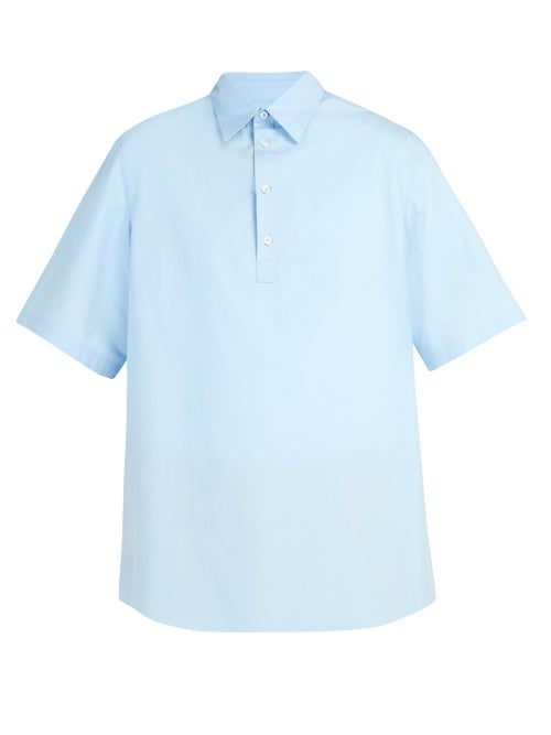 VALENTINO | Valentino - Oversized Short Sleeved Cotton Shirt - Mens - Light Blue | Clouty