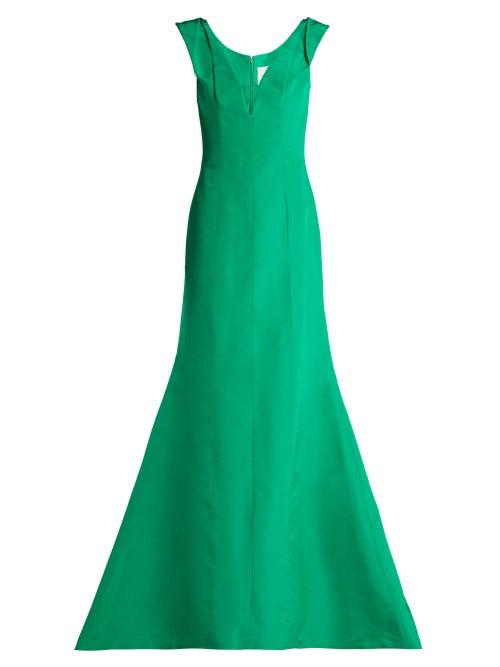 Carolina Herrera | Carolina Herrera - Fishtail Silk Faille Gown - Womens - Green | Clouty
