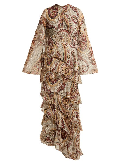 Etro | Etro - Vega Tiered Silk Blend Dress - Womens - Grey Print | Clouty