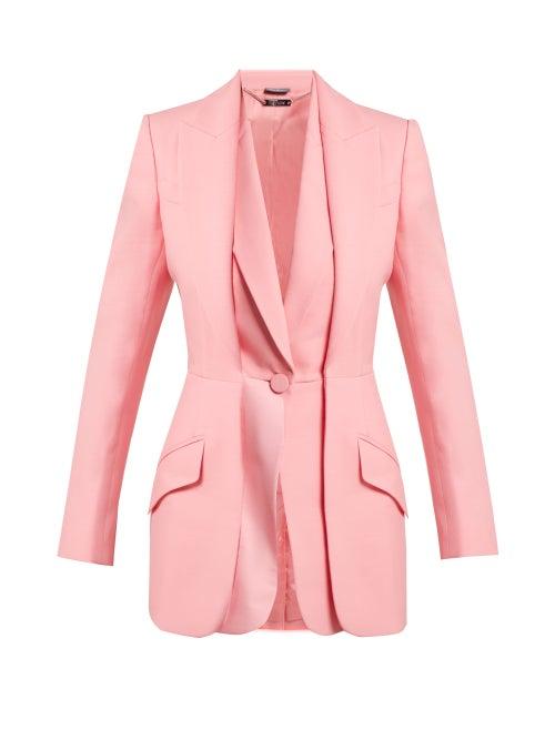 Alexander McQueen | Alexander Mcqueen - Wool Blend Double Lapel Blazer - Womens - Pink | Clouty