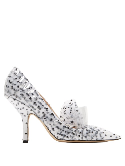 midnight 00 | Midnight 00 - Polka Dot Tulle And Pvc Pumps - Womens - White Black | Clouty