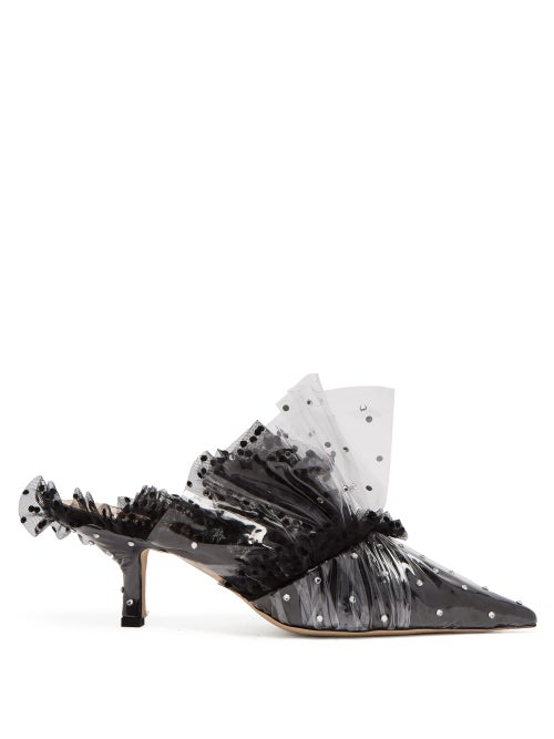 midnight 00 | Midnight 00 - Polka Dot Pvc And Tulle Mules - Womens - Black | Clouty