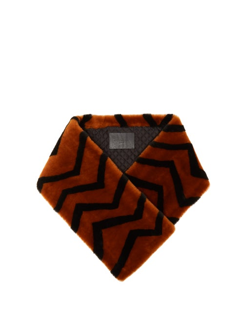 GIVENCHY | Givenchy - Striped Lamb Shearling Scarf - Womens - Orange | Clouty