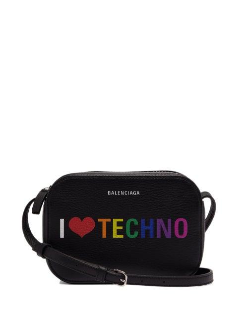 Balenciaga | Balenciaga - I Love Techno Everyday Camera Xs Leather Bag - Womens - Black Multi | Clouty