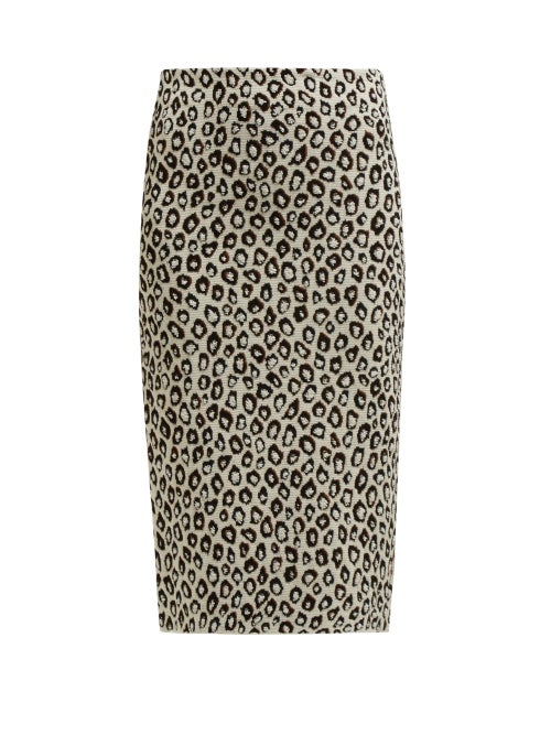 GIVENCHY | Givenchy - Leopard-jacquard Pencil Skirt - Womens - Black Multi | Clouty