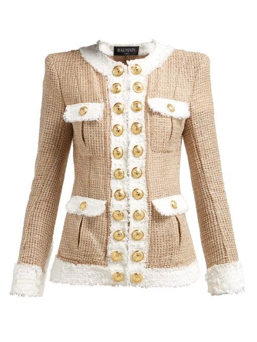 BALMAIN | Balmain - Contrast Trimmed Tweed Jacket - Womens - Beige White | Clouty