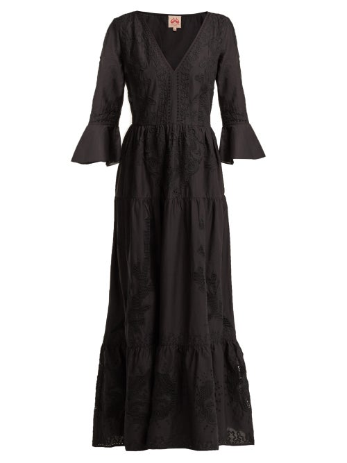 Le Sirenuse, Positano   Le Sirenuse, Positano - Bella Broderie-anglaise Cotton Dress - Womens - Black   Clouty