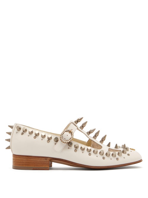 GUCCI | Gucci - Marcel Studded Leather Loafers - Womens - White | Clouty