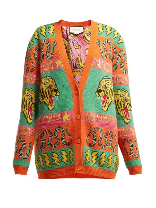GUCCI | Gucci - Tiger And Kingsnake Wool Jacquard Cardigan - Womens - Orange Multi | Clouty