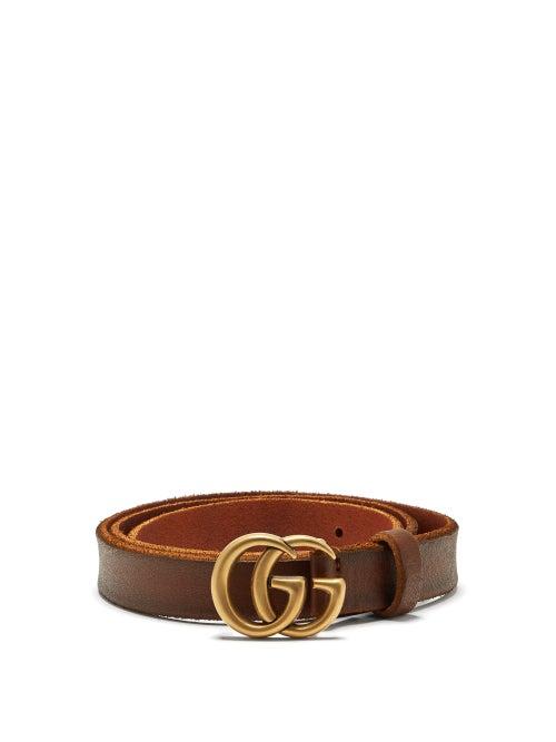 GUCCI | Gucci - GG-logo 2cm Leather Belt - Womens - Tan | Clouty