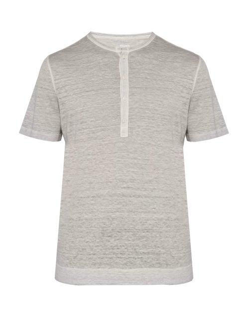 120% Lino | 120% Lino - Henley Linen Jersey T Shirt - Mens - Grey | Clouty
