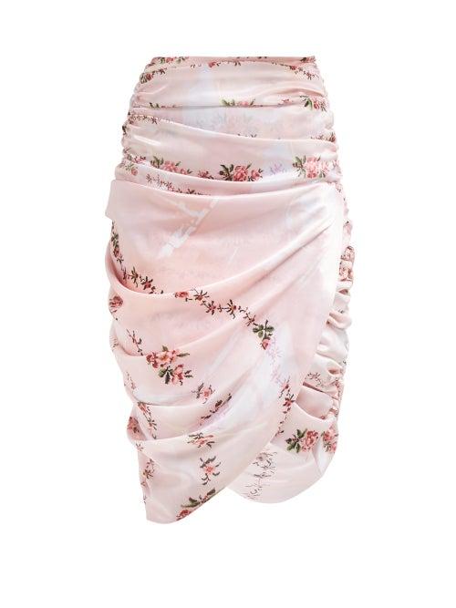 Preen By Thornton Bregazzi | Preen By Thornton Bregazzi - Marion Ruched Skirt - Womens - Pink Multi | Clouty