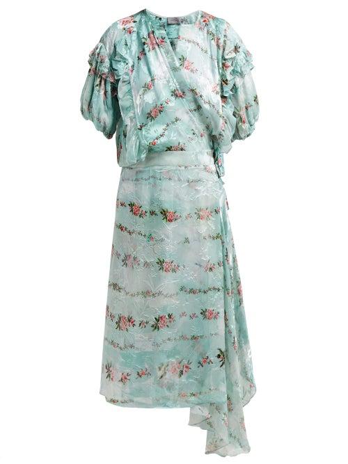 Preen By Thornton Bregazzi | Preen By Thornton Bregazzi - Ashley Floral Print Silk Devore Wrap Dress - Womens - Light Blue | Clouty