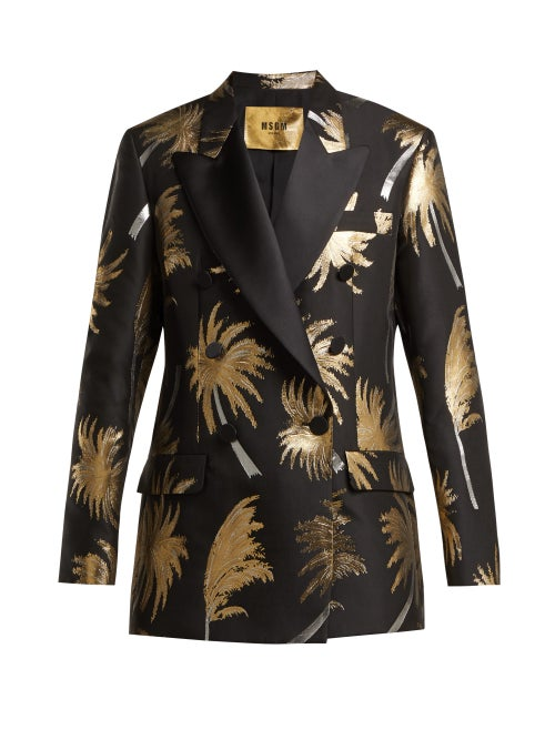 MSGM | Msgm - Metallic Jacquard Double Breasted Tuxedo Jacket - Womens - Black Gold | Clouty