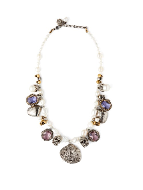 Alexander McQueen | Alexander Mcqueen - Crystal And Charm Embellished Pearl Necklace - Womens - | Clouty