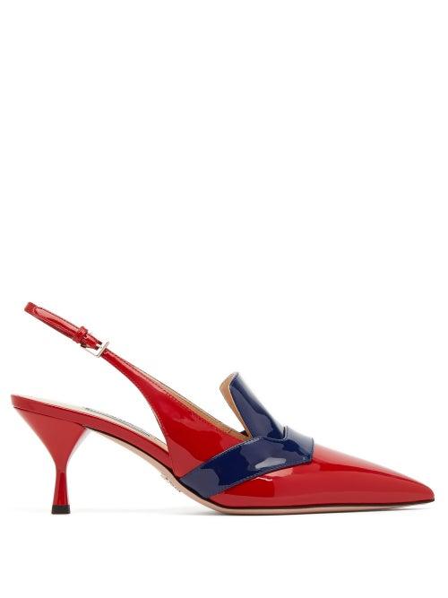 PRADA | Prada - Bi-colour Patent Leather Slingback Pumps - Womens - Red Navy | Clouty