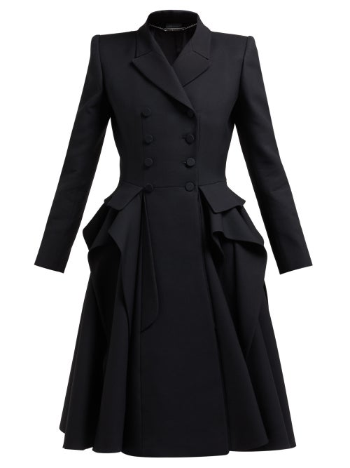 Alexander McQueen | Alexander Mcqueen - Ruffle Double Breasted Wool And Silk Blend Coat - Womens - Black | Clouty