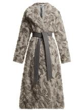 Stella Mccartney - Tie Waist Faux Fur Coat - Womens - Grey