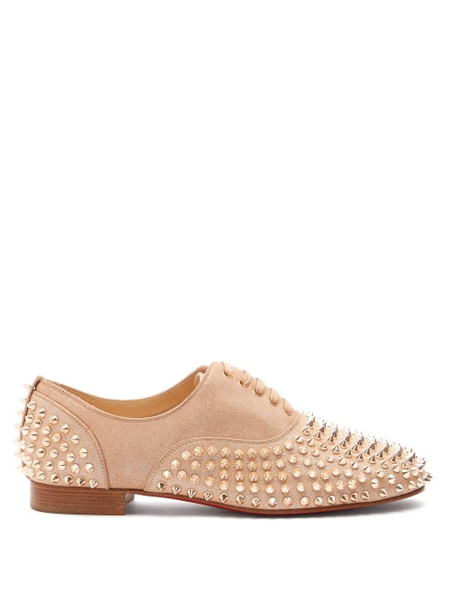 Christian Louboutin | Christian Louboutin - Freddy Studded Leather Derby Shoes - Womens - Nude Gold | Clouty