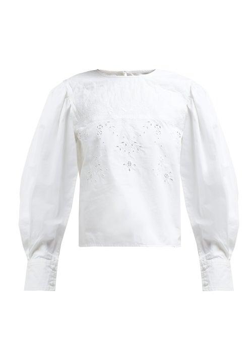 Isabel Marant Étoile | Isabel Marant Etoile - Wona Broderie Anglaise Cotton Blouse - Womens - White | Clouty