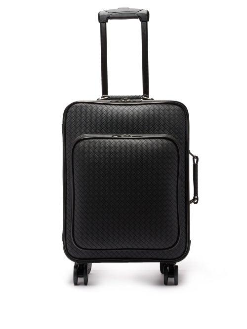 Bottega Veneta | Bottega Veneta - Intrecciato Leather Cabin Suitcase - Mens - Black | Clouty