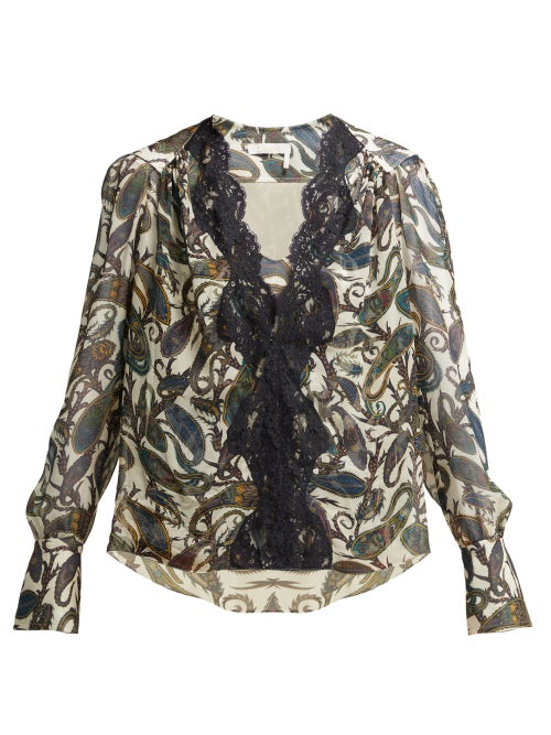 Chloé | Chloe - Paisely Print Silk Blouse - Womens - White Multi | Clouty