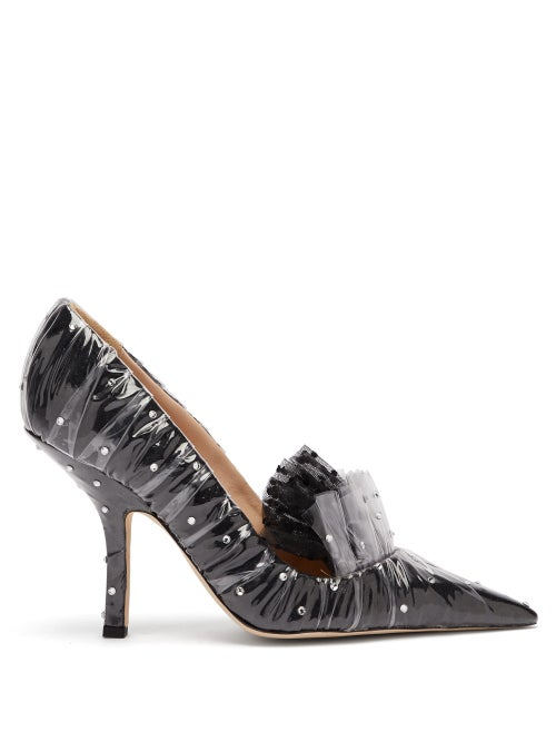 midnight 00 | Midnight 00 - Crystal Embellished Tulle And Pvc Pumps - Womens - Black | Clouty