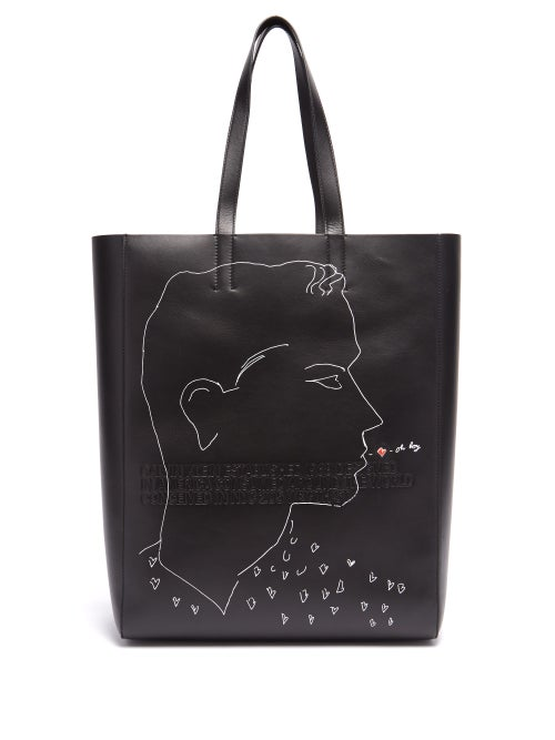 Calvin Klein | Calvin Klein 205w39nyc - X Andy Warhol Leather Tote - Mens - Black | Clouty