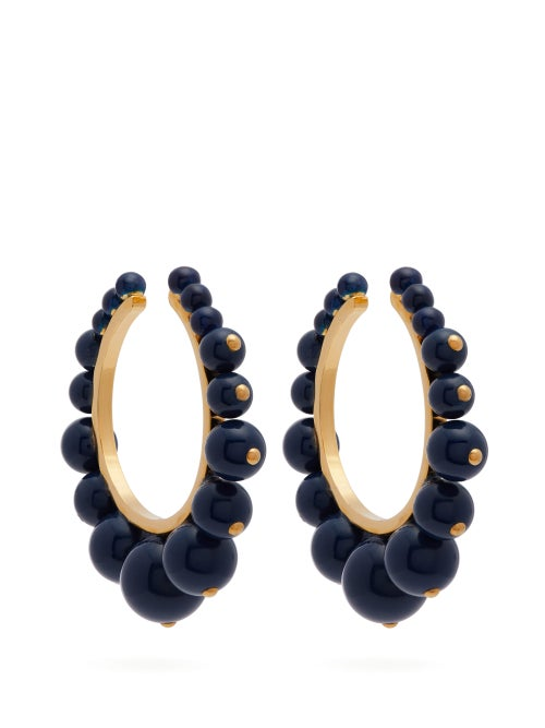 Aurélie Bidermann | Aurelie Bidermann - Ana Beaded Hoop Earrings - Womens - Blue | Clouty