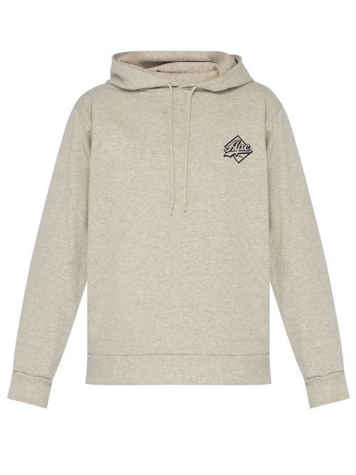 A.P.C. | A.p.c. - Aston Logo Print Hooded Cotton Blend Sweatshirt - Mens - Beige | Clouty