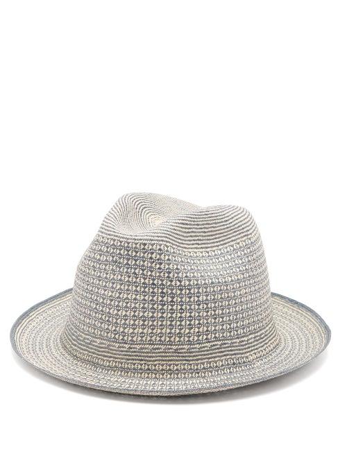 Guanabana | Guanabana - Geometric Straw Panama Hat - Mens - Beige Multi | Clouty