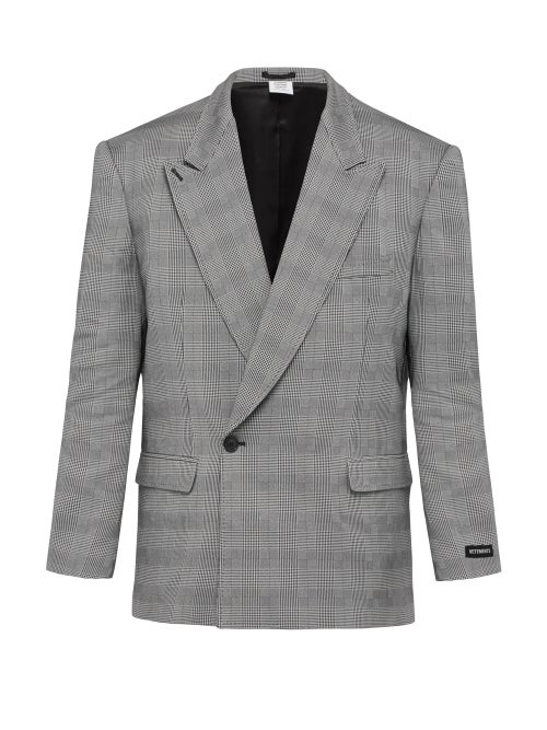 VETEMENTS | Vetements - Houndstooth Double Breasted Blazer - Mens - Grey | Clouty