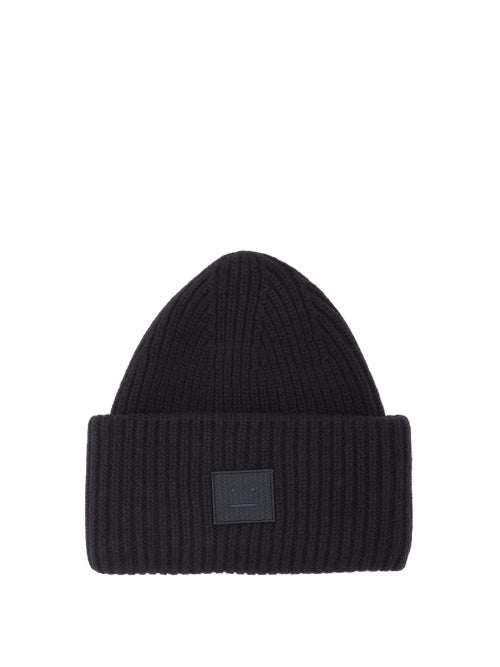 Acne Studios | Acne Studios - Pansy N Face Ribbed Knit Wool Beanie Hat - Mens - Black | Clouty