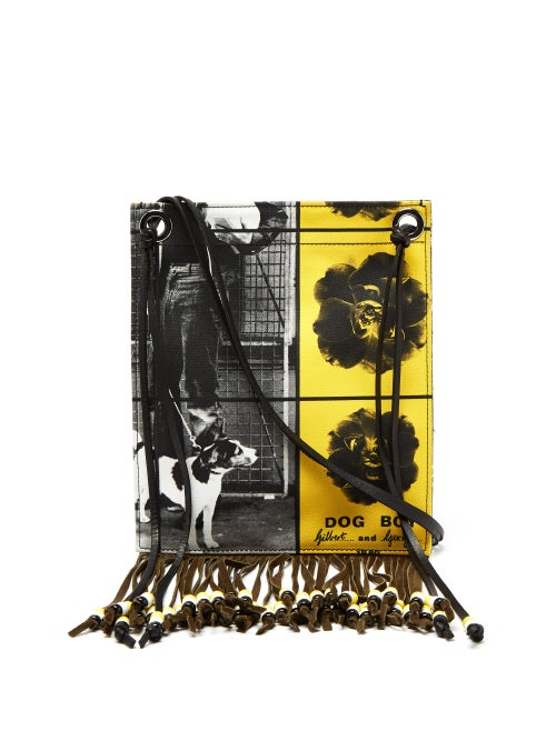 J.W. Anderson | Jw Anderson - X Gilbert & George Print Canvas Bag - Womens - Black Yellow | Clouty